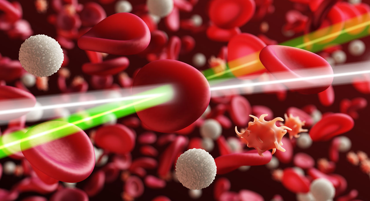 Analyzing blood via laser pulses.